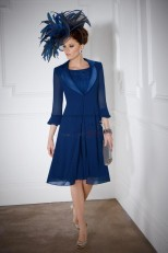 Fashion Royal Blue Knee-Length Mother of the bride dress