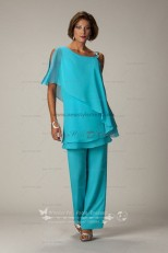 Ocean Blue Latest Fashion Chiffon mother of the bride pants suits nmo-014