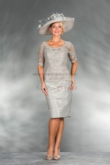 hot sale Silver lace Knee-Length Jewel Mother of the bride dress cms-010