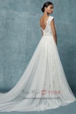 Spring Lace Bridal jumpsuit Wedding pants dress with detachable train wps-116