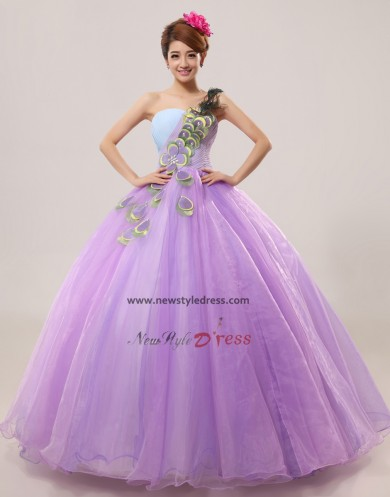 One Shoulder Ball Gown Lilac flower Feathers Quinceanera Dresses under 200 nq-007