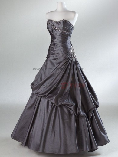 Strapless Ball Gown Glamorous Silver or Rose Red Ruched Ankle-Length Prom Dresses Side Embroidery with beading np-0070
