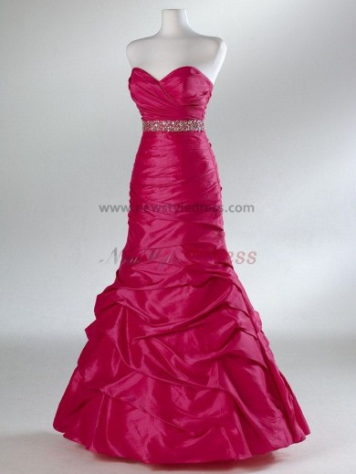 Sweetheart Chest with pleats Ankle-Length Waist with Crystal A-Line Evening dresses np-0076
