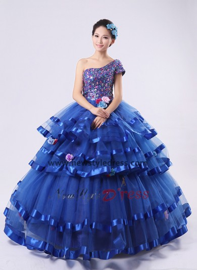 Royal Blue Ball Gown One Shoulder Tiered Glass Drill Cheap Quinceanera Dresses nq-005