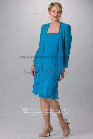 Ocean Blue chiffon Knee-Length mother of the bride dress for the beach wedding cms-064