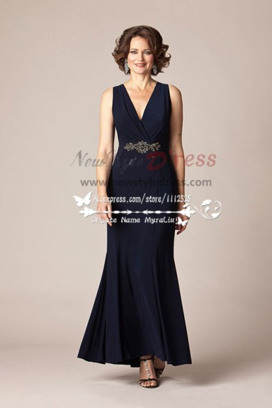 Black Chiffon Deep V-Neck mother of the bride long dress cms-076