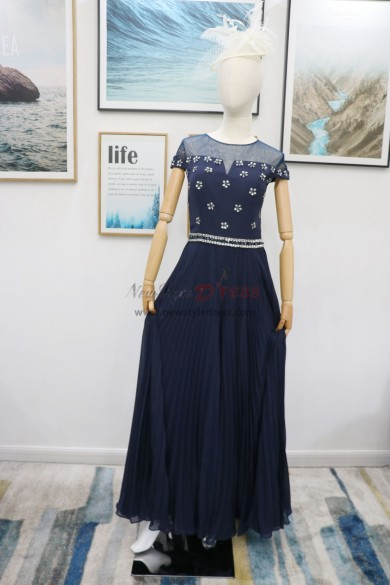 Beaded Jumpsuit with belt Dark navy dresses accordion pleats nmo-605