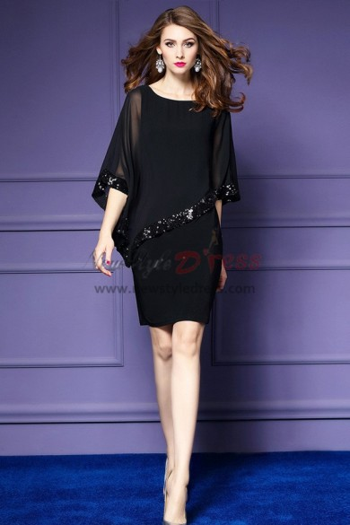Black right tilt Half Sleeves short dresses with Sequins nmo-315