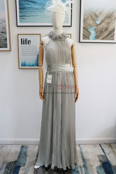 Gray chiffon accordion pleats Bridesmaids Dresses nmo-608