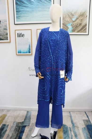 Royal blue beaded Mother of the bride pant suits Plus size Trousers outfit real pic nmo-626