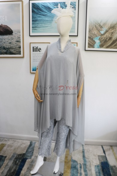 Silver Gray Lace Mother of the bride jumpsuit with Chiffon Poncho New arrival nmo-618