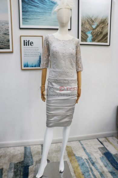 Silver Gray Mother of the bride dresses Short  nmo-615