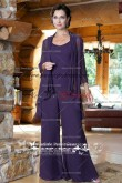 Chiffon purple mother of the bride pants suits With jacket nmo-044