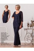 Elegant with jacket Formal Dark navy lace mother of the bride outfits nmo-215