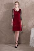 Knee-Length Burgundy Velvet Prom dresses Lace Sleeve NP-0392