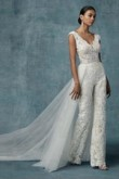 Spring Lace Bridal jumpsuit Wedding pants dress with detachable train wps-116