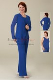 Royal blue chiffon Mother of the bride pant suits 3PC trousers set with jacket nmo-426