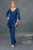 Royal blue chiffon V-neck Mother of the bridal pant suit three quarter sleeve nmo-427