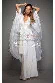 Sexy Halter Deep V-neck bridal jumpsuits with chiffon cape for wedding wps-075