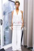 White lace bridal jumpsuit V-neck pantsuit dresses for wedding Custom made wps-086