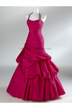 2013 Hot Sale Halter Ball Gown Elegant Rose Red and Silver Bottom Ruched Prom Dresses np-0101