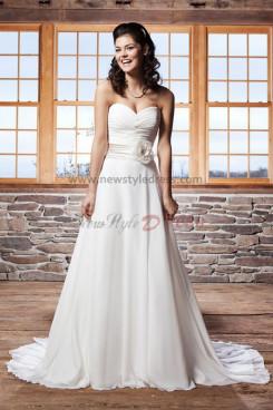 Latest Fashion A line Sweetheart Chiffon Beach wedding dress Waist With a flower nw-0236