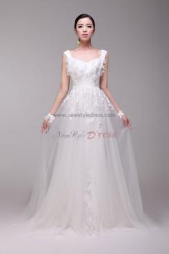 Latest Fashion lace flower Vest A-Line Glamorous Wedding Dresses nw-0172