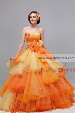 Orange Ball Gown Tiered Chest Appliques Quinceanera Dresses nq-026