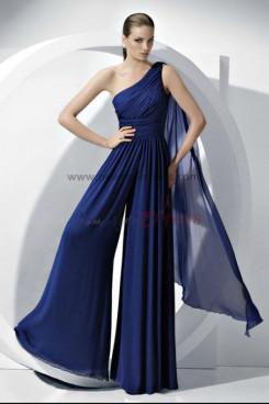 2019 Chiffon Bridesmaids Jumpsuits dresses Royal Blue Wedding party pants nmo-056