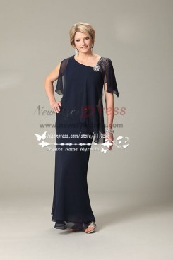 Dark navy georgette mother of the bride dress nmo-627