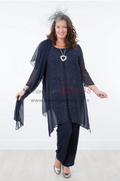 2019 NEW ARRIVAL Dark Navy Mother of the bride dresses with shawl Chiffon outfit nmo-309