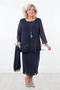 NEW ARRIVAL Two piece Comfortable Chiffon Mother of the Bride Dresses With shawl Dark Navy nmo-294