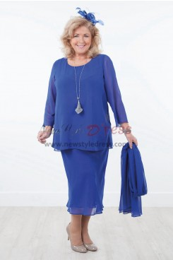 Royal Blue Plus Size Two piece Comfortable Chiffon Mother of the Bride Dresses nmo-593