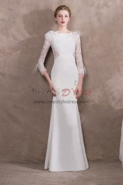 2019 New arrival White Prom dresses with Feathers NP-0390