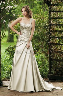 A-Line One Shoulder Taffeta Sweetheart Elegant Wedding Dress nw-0288