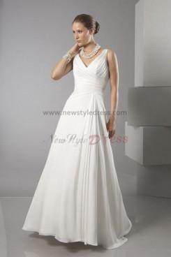 A-Line V-neck Simple Spring Fashion Beach Wedding Dress nw-0295