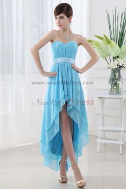 Asymmetry Navy blue Chiffon Elegant Back Design Lace Up Homecoming Dresses nm-0060