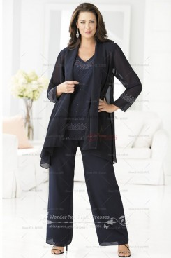 Black three piece cheap mother of the dress pant suits nmo-027