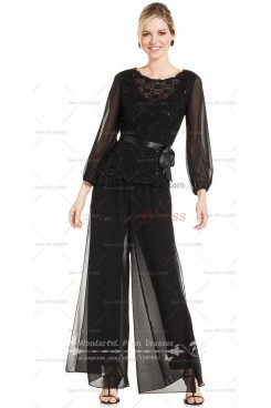 Black three quarter sleeve Chiffon mother of the bride pant suits with lace nmo-013