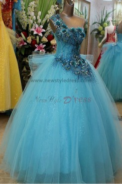 Blue Tulle One Shoulder Ball Gown Waist With Handmade flower Quinceanera Dresses np-0119
