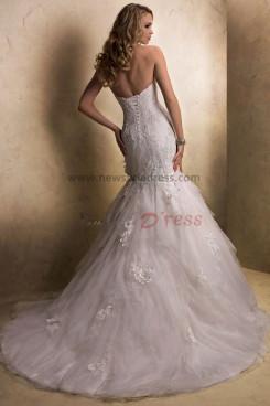 Brush Train Tiered Mermaid lace Sheath Elegant cheap wedding dresses nw-0198