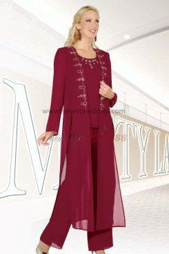 Burgundy Three Piece  mother of the bride pants set with classic long jacket nmo-039