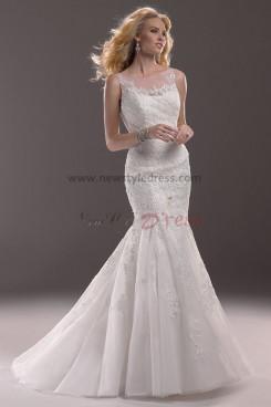 Cheap Sheer Straps Mermaid lace Sheath Elegant wedding dresses nw-0183