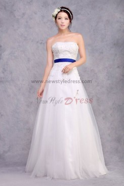 Cheap a-line Strapless Lace Appliques Wedding Dresses With Royal Blue Belt nw-0171