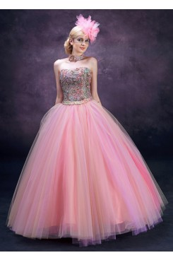 Chest Appliques Pink Tulle Floor-Length High-end Gorgeous Quinceanera Dresses nq-018