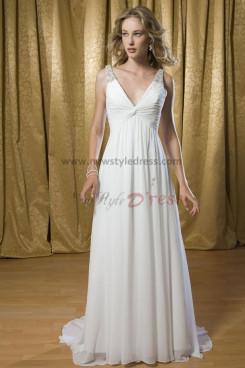 Chiffon Deep V-Neck Tank Sashes With Glass Drill Beach Informal wedding dress nw-0206