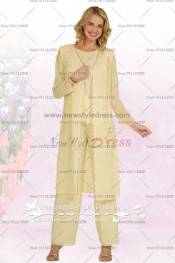 Daffodil Spring Chiffon Three Piece mother of the bride pants set with long coat nmo-047