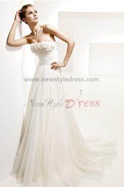 Elegant Chiffon Strapless Empire Summer Beach Wedding Dress nw-0284