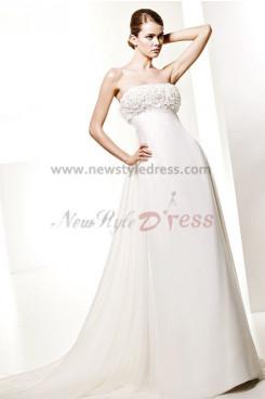 Elegant Empire Ivory Chiffon Beach Wedding Dress nw-0281