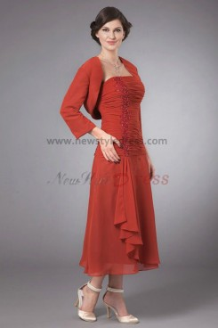 Elegant Mid-Calf Glamorous Mother's suit dress cms-022